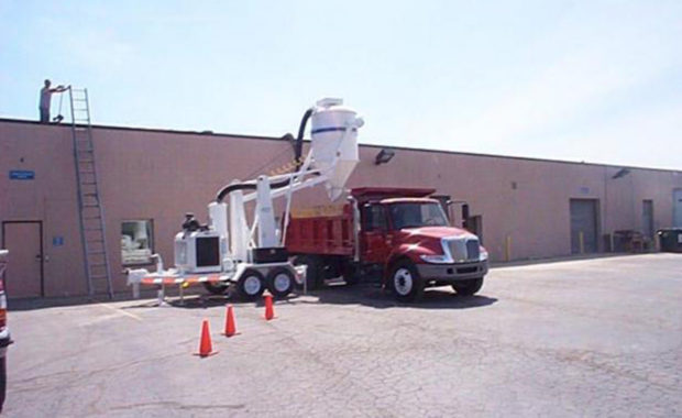 A Trailer Mounted Industrial Vacuum at a Jobsite